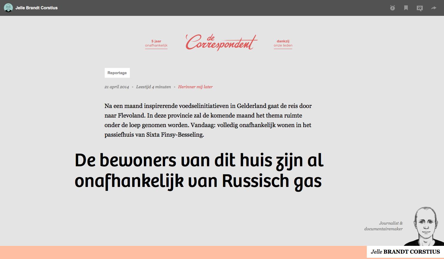 De bewoners van dit huis zijn al onafhankelijk van Russisch gas